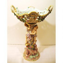 "Meissen centerpiece of boy and girl, 16"" tall, ca-1880s-1890s, great condition, Sold."
