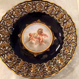 Another view of cobalt Meissen reticulated cherub plate, very rare, Circa-late 19th century, nine inch diameter, Sold.