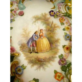 Close-up of Boucher scene on other Meissen figural plaque. You can see all the raised flowers on the Meissen plaque, Sold