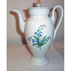 Rare Meissen coffee pot with painted forget me nots and animal spout