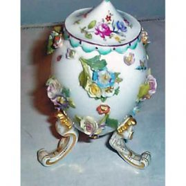 Meissen raised flower container with bugs and  flowers, ca-1900:  top may not be original. Price on Request.
