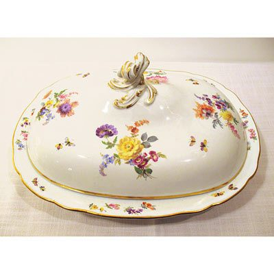 Meissen large covered bowl,