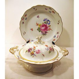Meissen covered vegetable and under plate, late 19th century