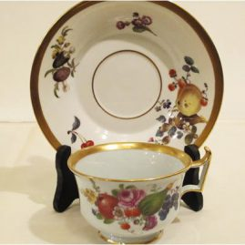 Rare Meissen cup and saucer with fruit and flowers. circa 1880s. It has flowers and fruit on the inside bottom of the cup. Sold.We have many other rare antique Meissen cups and saucers