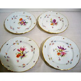 12 Meissen dessert plates each painted differently with different bugs and flowers