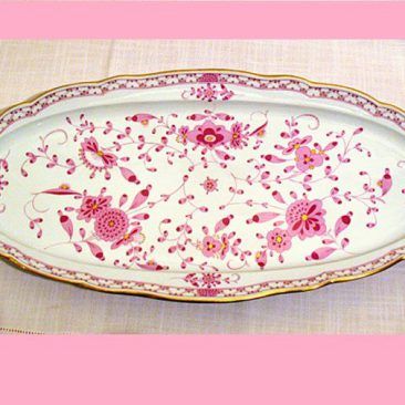 Meissen Purple Indian fish platter, 23 1/2 by 11 3/8 inches, ca-1880s-1890s, Sold.