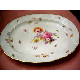 Beautiful Meissen platter painted with bugs and flowers, 18 1/4 by 14 inches, ca-1880s, Price on Request