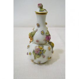 Rare Meissen perfume with raised flowers