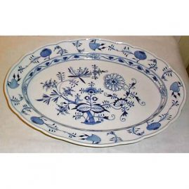 Meissen blue onion platter,  18 by 13 1/4 inches. We do have other blue onion Meissen platters.
