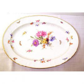 "Meissen platter with bugs and flowers, ca-1870s-1880s,18"" by 14"", Sold"