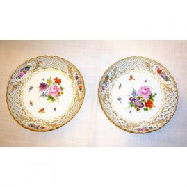 2 round reticulated Meissen bowls, ca-1880s-1890s, 8 inches, Sold