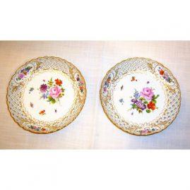 2 round reticulated Meissen bowls