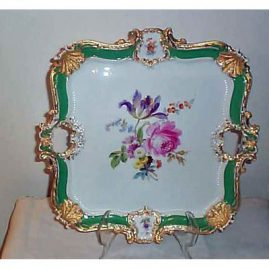 Meissen large square platter with flower bouquet, 16 by 16 inches,  ca-1870s to1880s, sold. We have other Meissen trays like this. Please see picture on page 11.