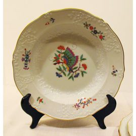 Five Meissen Chinese butterfly wide rim soups, price on request