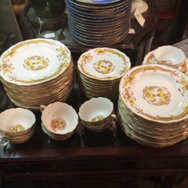 Meissen yellow court dragon dinner set  including 12 luncheon plates, 8 3/8 inch diameter, twelve dessert plates, 7 7/8 inches, 12 bread plates, 6 3/8 inches and 7 cups and saucers. Prices on Request.