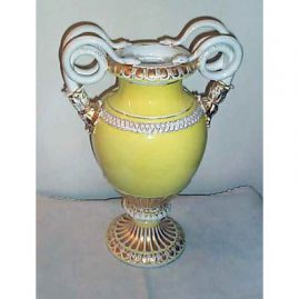 Meissen large yellow snake handled vase, 19 inches, ca-1890s, Sold. We have a beautiful Meissen snake handled flowered vase available.