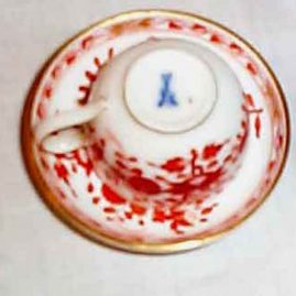 Miniature Meissen cup and saucer, 2 1/2 inches, ca-1890s, $495.00