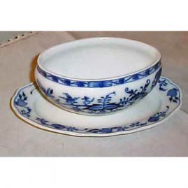 Meissen blue onion  open gravy, 1890s-1900, sold. We have many other blue onion Meissen gravies available. Some have covers