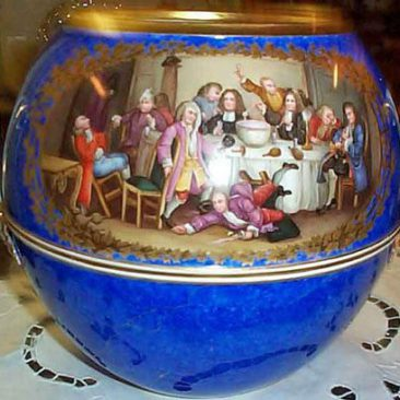Other side of Meissen punch bowl of the drinking party after Hogarth, ca-1880s-1890s, Sold. We have  many other unusual Meissen pieces. Please look through our Meissen section for rare Meissen items that are available.