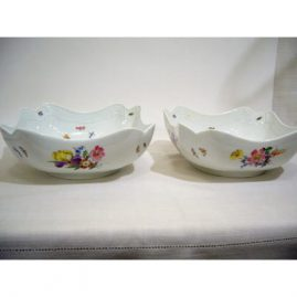Pair of Meissen four cornered bowls painted with bugs and flowers, with different bouquets of flowers on all four sides and in the center, 8 1/2 inches, Price on Request