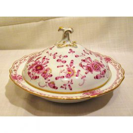 Purple Indian Meissen covered bowl, 11 1/2 inches by 11 1/2 inches. Sold.