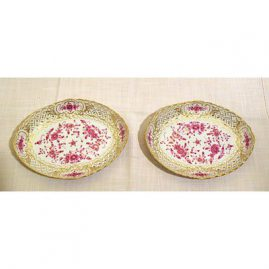 Pair of Meissen Purple Indian reticulated bowls