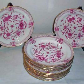 Set of twelve Meissen purple Indian lunches. size 8 1/2 inches. Price on Request.