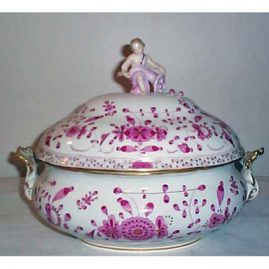 Meissen purple Indian tureen with figure on top