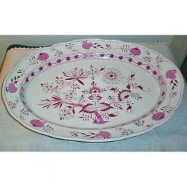 Rare Meissen pink onion  platter, 20 1/2 inches long,  ca-1870s, sold