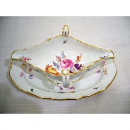 Well painted Meissen gravy with attached under plate painted with bugs and flowers, ca-1880s, 10 by 7 inches, Price on Request