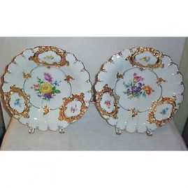 Pair of Meissen flowered  chargers, 12 inches  sold. We have many more Meissen chargers available. Please look through Meissen section.