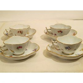 Four rare Meissen quadrefoil shaped streublumen demitasse cups and saucers. Circa-1880s-1890s, Price on Request.