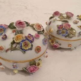 Rare Meissen boxes with raised flowers, Ca-1880s, one left. Price on Request