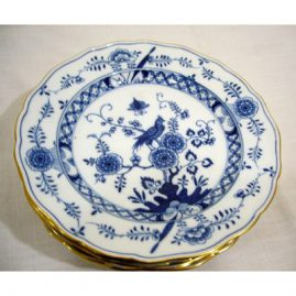 Set of six rare Meissen blue and white bird plates, with unusual design, and gold border, 9 1/2 inches, ca-1880s, Sold. We have other rare bird plates available.