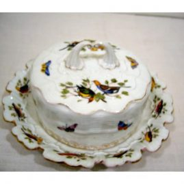 Rare Meissen covered butter or cheese dish with birds and butterflies