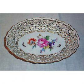 Meissen reticulated bowl  with flowers and bugs, 1880s-1890s, 9 3/4 inches. Price on Request.