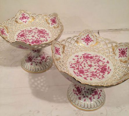 Meissen purple Indian reticulated compotes