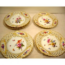 Set of six rare Meissen reticulated plates, each handpainted with different bouquets of flowers and bugs, 8 1/8 inches, ca-1880s-1890s, Sold.