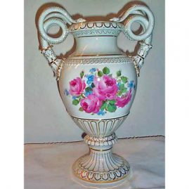Other side of Meissen large snake handled vase with pink roses.