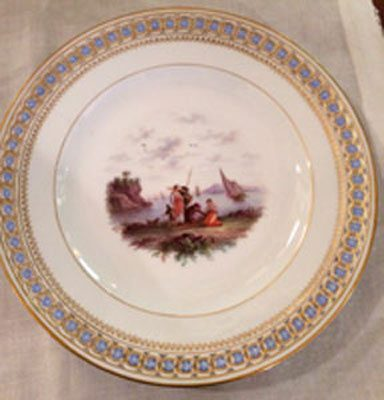 Rare Meissen seascape plate with reticulation and raised forget me nots