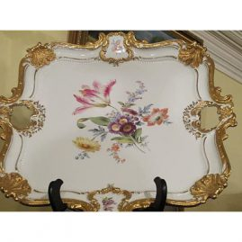 Meissen large square platter with beautiful bouquet and shell gilding