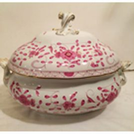 Meissen purple Indian tureen, 17 inches long, 11 1/2 inches tall. Under plate is also available Sold.