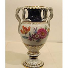 Meissen cobalt snake handled vase, 10 3/8 inches tall by 7 inches wide, ca-1880s, with different bouquets of flowers on each side