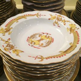 Twelve Meissen yellow court dragon dinner plates and 10  wide rim soups. Dinners are 10 inches in diameter and wide rim soups are 9 1/4 inches in diameter. Prices on Request.