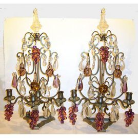 "Pair of French candlelabras, 24"" tall by 13"", grapes pears and apples, late 19th century, Sold"