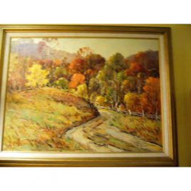 "Oil on canvas by John F. Enser of an autumn scene, he lived 1898-1968; unframed- 18"" by 24"", framed- 22 1/2"" by 28 1/2"", Sold"