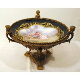 "Marsailles Paris centerpiece with  cherub handles, 9"" tall by 12"",  late 19th century, Price on Request"