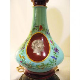 "One of a pair of Paris Porcelain lamps, late 19th  century, porcelain part-9"", lamp-15"", Sold"
