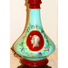 "One of a pair of Paris Porcelain lamps, late 19th  century, without lamp  shade- 15"", Sold"