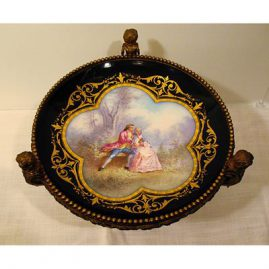 Top of a Marsailles Paris hand painted centerpiece artist signed , with ormolu cherub mounts